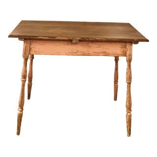 Vintage Shabby Chic Wood Pink Chippy Farmhouse Table For Sale