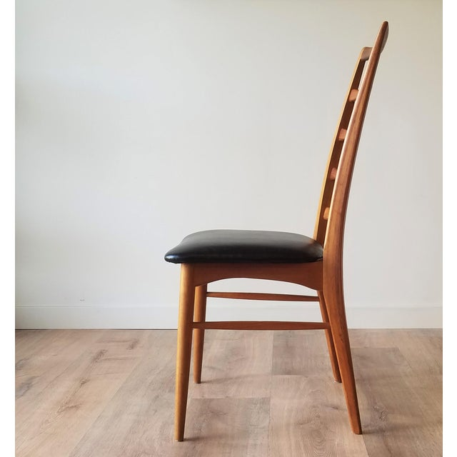 Koefoeds Hornslet 1960s Niels Kofoed for Koefoeds Hornslet Newly Upholstered Teak Ladder Back Dining Chairs - a Pair For Sale - Image 4 of 13