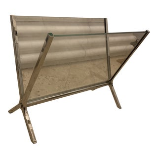 1940s Italian Chic Glass and Nickel Magazine Holder For Sale