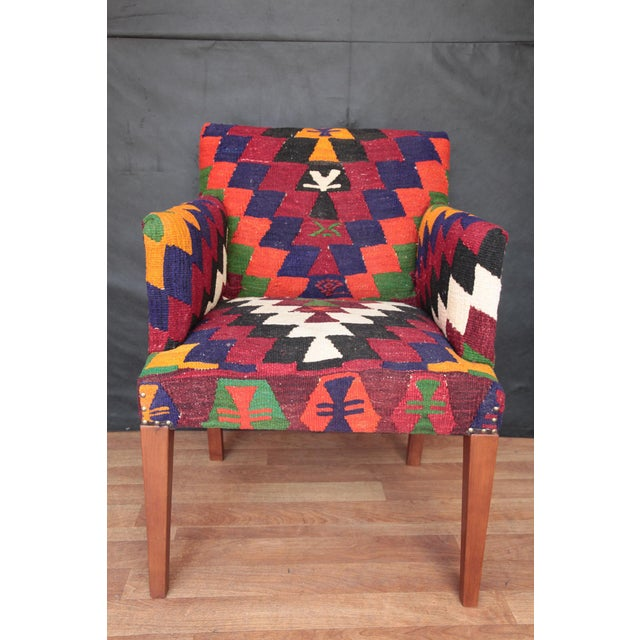 Textile Kilim Upholstered Armchair For Sale - Image 7 of 7