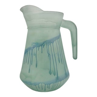 1980s Hand Painted Frosted Reuven Art Glass Pitcher For Sale