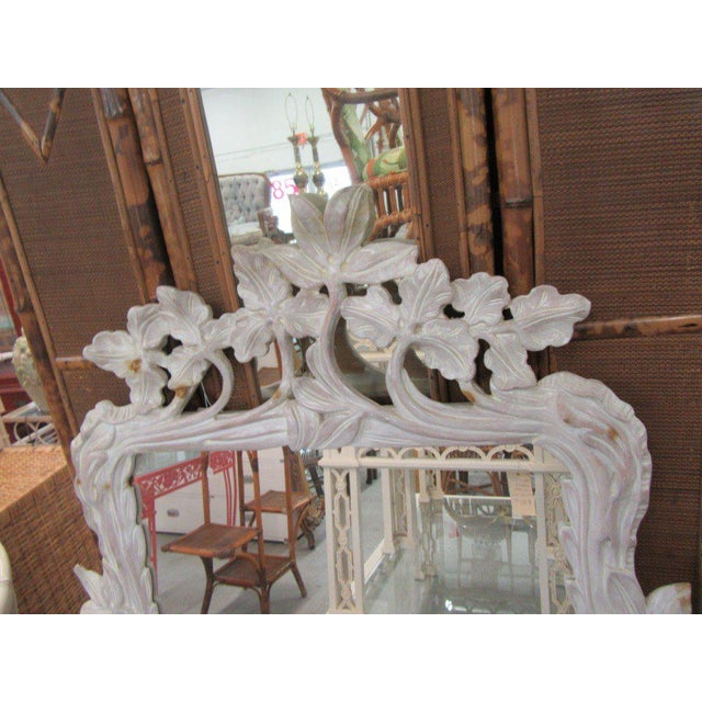 Regency White Carved Flower Vine Mirror, Late 20th Century For Sale - Image 3 of 7