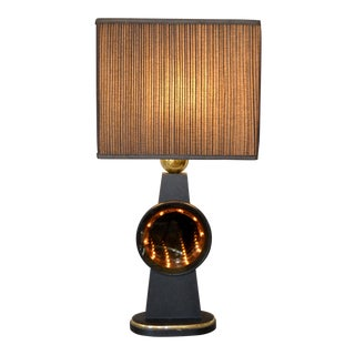 Mid-Century Modern Tall Brass, Glass, Wood Infinity Table Lamp in Black & Gold For Sale