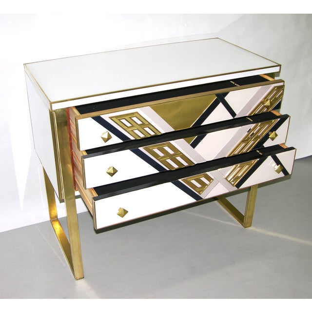 1990s Italian White Black and Gold Chest Sideboard on Brass Legs For Sale In New York - Image 6 of 10
