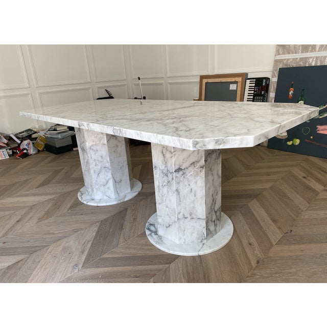 Arabescato Marble Dining Table For Sale - Image 4 of 8