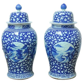 Chinese Blue & White Temple Ginger Jars - A Pair