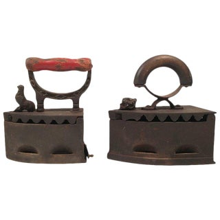 19th Century Cast Iron Coal Irons- A Pair For Sale