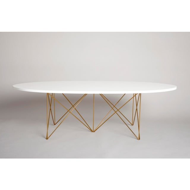 Mid-Century Modern Hayden Coffee Cocktail Table, Mid-Century Inspired White Lacquer Top with Gold Powder Coated Base For Sale - Image 3 of 3