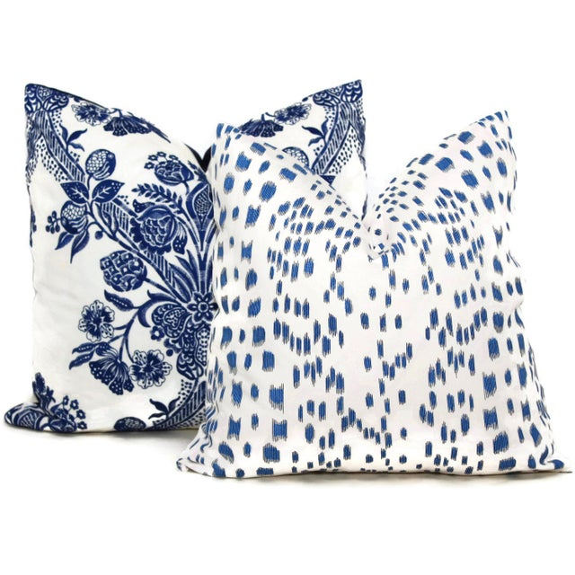 """Contemporary 20"""" X 20"""" Brunschwig Fils Les Touches Blue & White Decorative Pillow Cover For Sale - Image 3 of 3"""