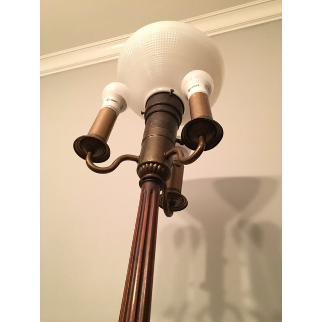 Carved Wood Leviton Torchiere Floor Lamp Chairish