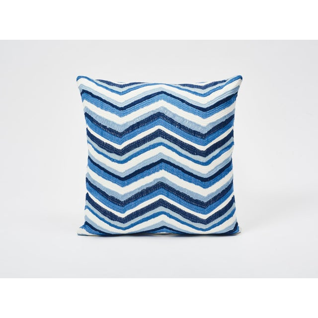 Schumacher Double-Sided Pillow in Shasta Embroidery Textured Print For Sale In New York - Image 6 of 7