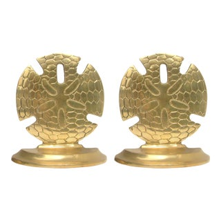 Mid-Century Brass Sand Dollar Bookends For Sale