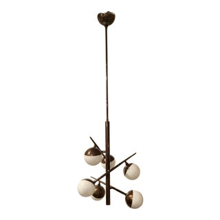 Arteriors Modern Bronze Finish and Opal Glass Linkka Chandelier For Sale