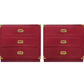 1960s Campaign Chests in Beet Color - a Pair For Sale