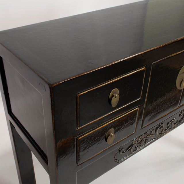 Salvaged Kitchen Cabinets For Sale: Black Reclaimed Wood East Asian Style Cabinet