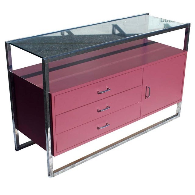 Chrome 1970s Mid-Century Modern Chrome and Pink Lacquer Bar Cabinet For Sale - Image 7 of 7