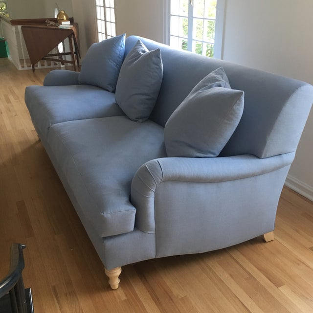 Modern Traditional English Roll Arm Sofa in Blue For Sale In Los Angeles - Image 6 of 7
