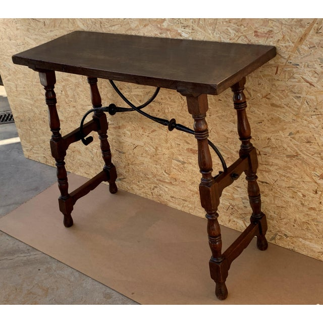 Baroque 19th Spanish Console Table With Iron Stretcher and Shaped Legs, Side Table, Baroque For Sale - Image 3 of 11