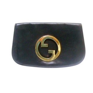 Gucci Italy Iconic Black Leather Blondie Clutch For Sale