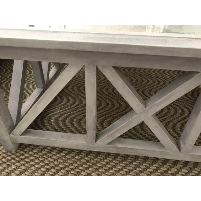 X Base Mirrored Top Wood Coffee Table - Image 7 of 8