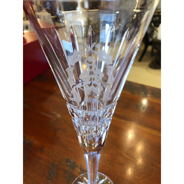 2010s Waterford Crystal 12 Days of Christmas Champagne Flutes- 12 Pieces For Sale - Image 5 of 12