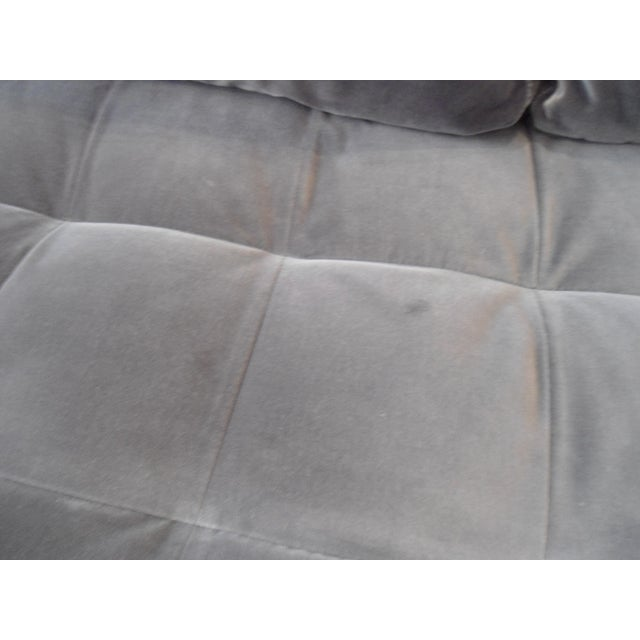 Shadow Gray Velvet Sectional, Left Chaise, Tufted Seating For Sale - Image 5 of 6