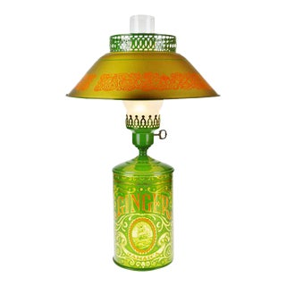 Vintage Ginger Spice Tin Table Lamp With Tole Shade For Sale