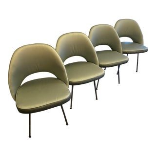Eero Saarinen Style Chairs in Blue Silk - Set of 4 For Sale