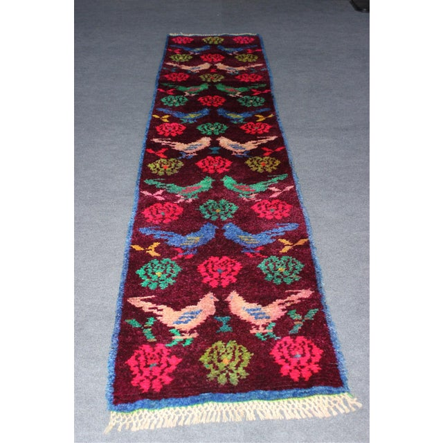 Vintage Turkish Bird Motif Tulu Rug - 2′8″ × 11′6″ - Image 4 of 11