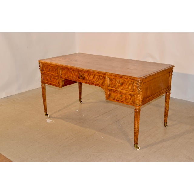 19th Century Satin Birch Desk For Sale - Image 4 of 12