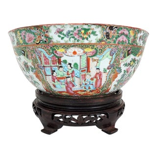 Antique Chinese Export Rose Medallion Porcelain Punch Bowl, Late 1900's, Canton For Sale