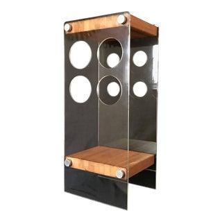 Vintage Mid-Century Modern Lucite Acrylic Wood Wine Rack Table For Sale