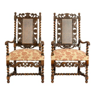 Hand Carved Walnut and Cane Back Armchairs / Corner Chairs - a Pair For Sale