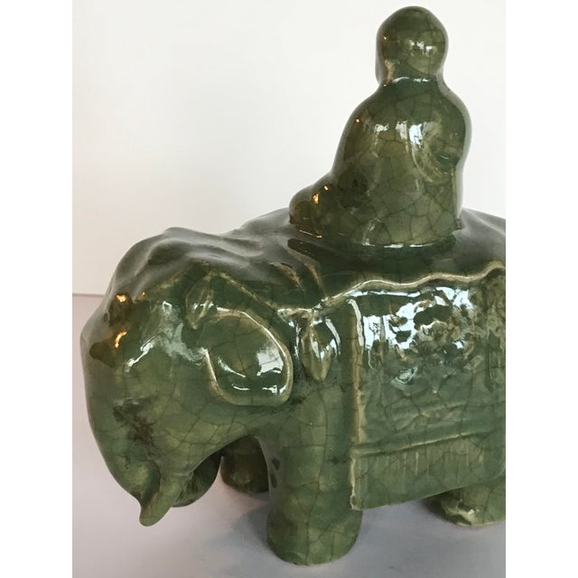 Asian Asian Style Ceramic Elephant Figurine For Sale - Image 3 of 6