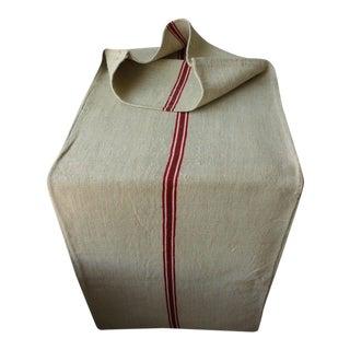 European Red and Green Stripe Christmas Fabric Grain Sack For Sale
