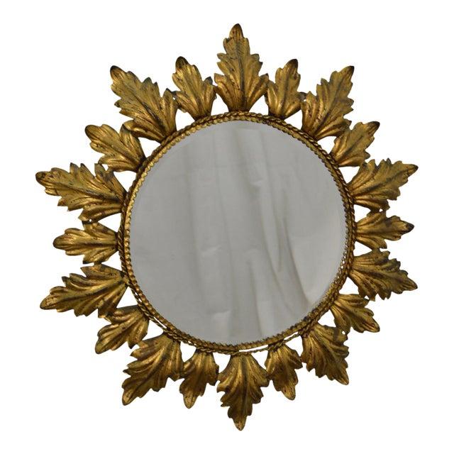 Hollywood Regency Mid century Gold Gilt Metal Starburst Wall Mirror - Image 1 of 11