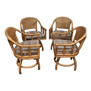 Set of Four Vintage Mid Century Modern Bamboo Rattan Swivel Armchairs For Sale