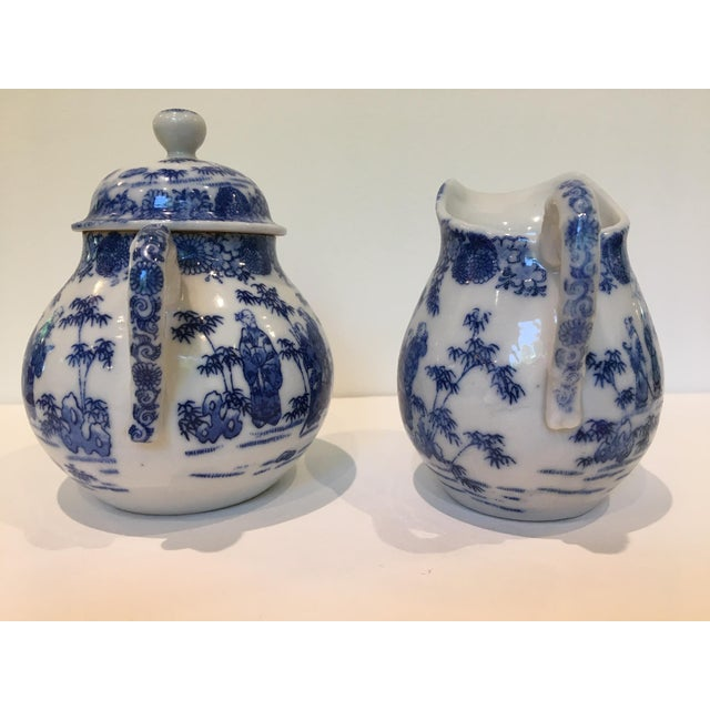 Vintage Chinoiserie Blue and White Creamer and Lidded Sugar Bowl - Set of 2 For Sale - Image 4 of 8