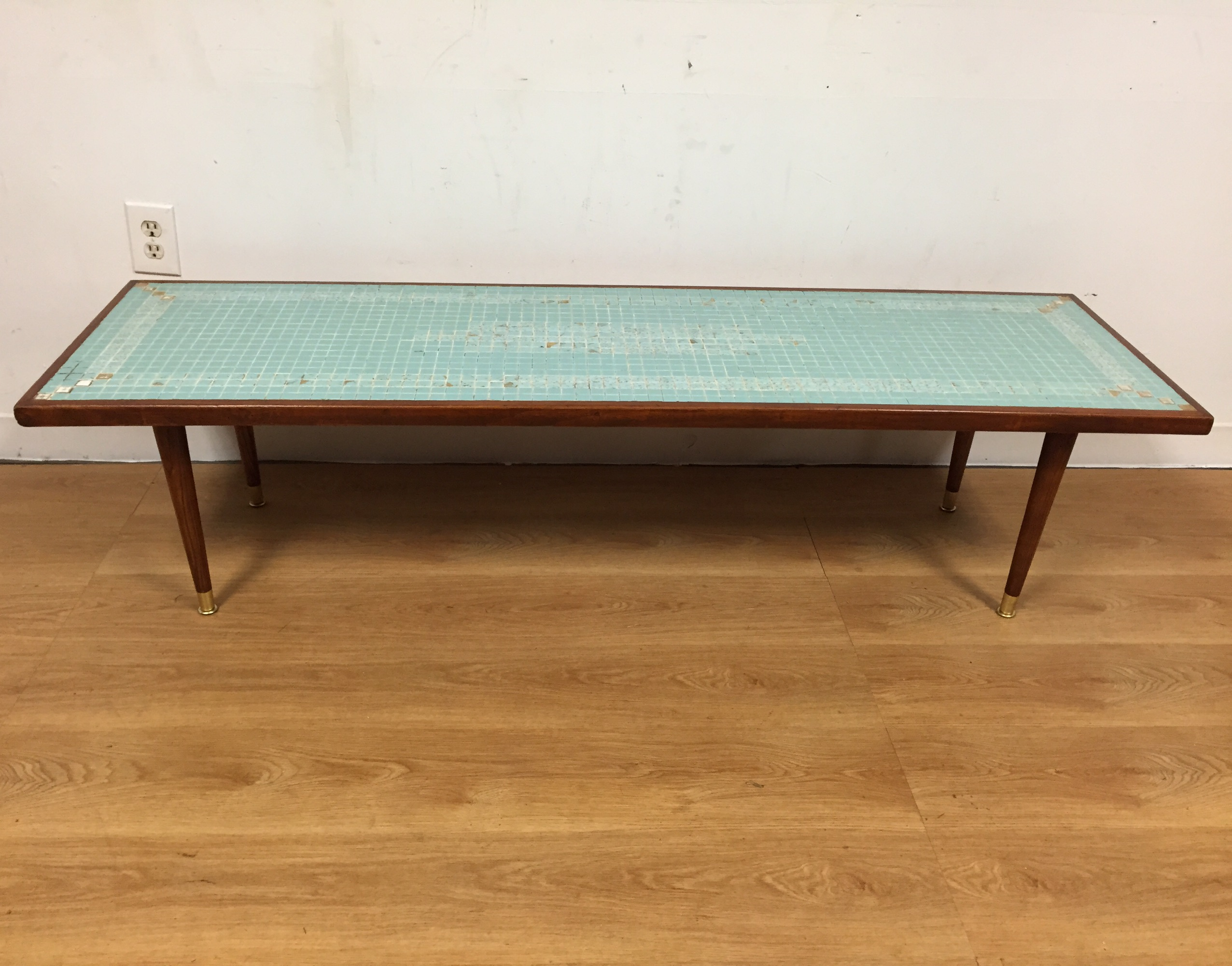 mid-century tile top coffee table | chairish