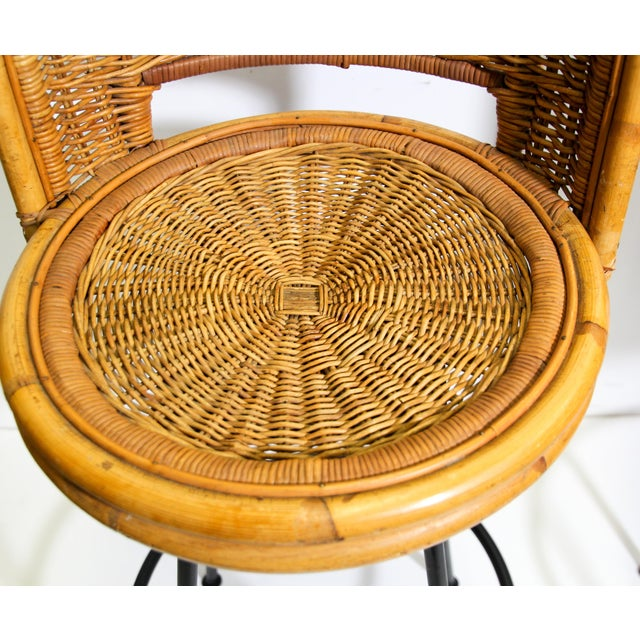 Danny Ho Fong Vintage Swivel Woven Rattan Bar Stool, 1960s - a Pair For Sale - Image 4 of 13