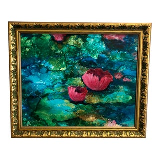 1960s Vintage Custom Giltwood Framed Signed Floral on Canvas of Pink Blooming Water Lillys For Sale