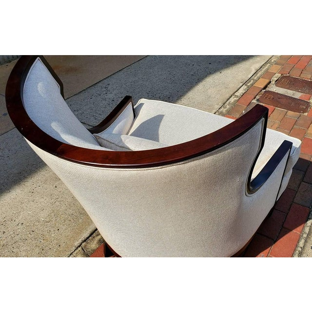 Brown Henredon Furniture Barbara Barry Accent/Lounge Chair W/ Kidney Pillow For Sale - Image 8 of 10