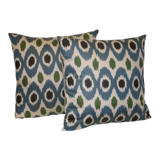 "Boho Chic Blue Ikat Silk Throw Pillows, 24"" - a Pair For Sale"