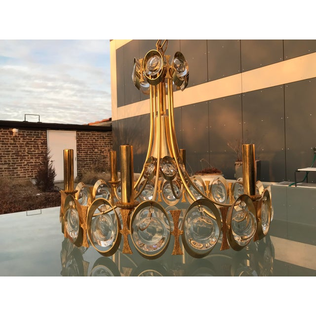 Show-stopping circa 1970s Chandelier from German maker Palwa and attributed to Sciolari . The extravagant design marries...