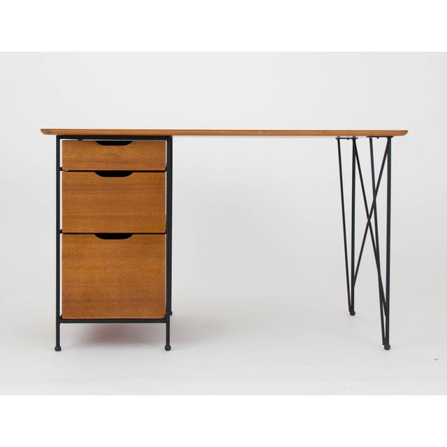 Modernist Desk in Mahogany and Enameled Steel by Vista of California - Image 2 of 9