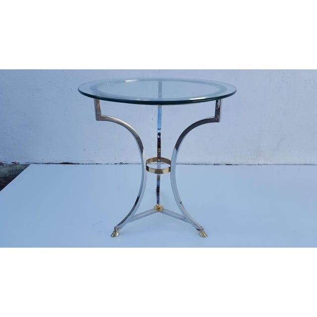 Mid-Century Modern Maison Jansen Chrome and Solid Brass Hoot Foot Side Table For Sale - Image 3 of 9