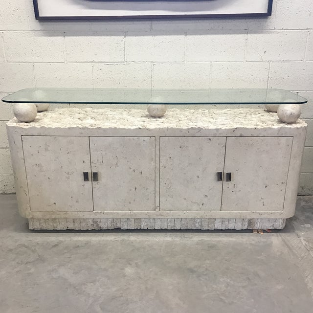 Maitland-Smith Tessellated Stone & Glass Credenza - Image 2 of 11