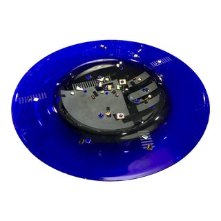 Large 1994 Memphis Style Glass Charger Plate For Sale