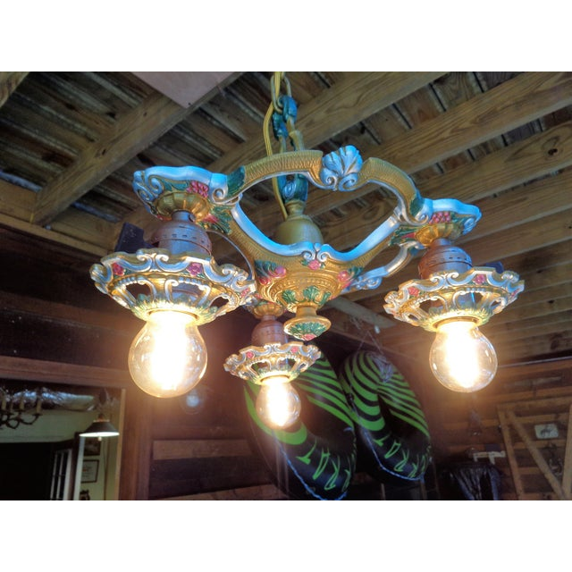 Antique Small Green and Blue Art Deco Chandelier - Image 6 of 9