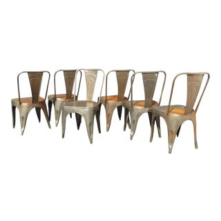 Vintage Rustic Industrial Style Metal Dining Chairs - Set of 6 For Sale